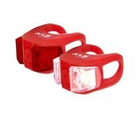 Фонари комплект KLS twins, 2 диода, 2 режима, батарейки в компл., цвет красный
