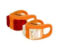 Фонари комплект KLS twins, 2 диода, 2 режима, батарейки в компл., цвет оранжевый